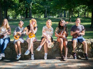 (from left to right) Robyn Ardern, Isabela Peterson, Anna Keener, Helen Abbott, Chiazo Agina, and Matthew Wasyluk pose with their ukuleles on Sept. 24.