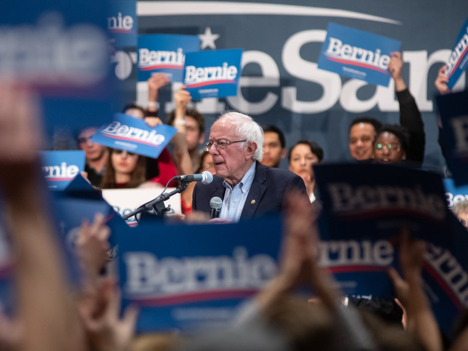 U.S. Sen. and presidential candidate Bernie Sanders brought his message of economic populism to Durham ahead of North Carolina's Super Tuesday primary. Sanders was joined by local community leaders and national campaign surrogates at a rally held in the Durham Convention Center on Friday morning.
