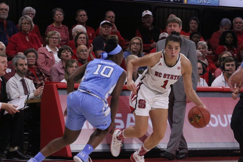 N.C. State's Aislinn Konig (1) powers past UNC's Jamie Cherry (10) on Feb.11 at Reynolds Coliseum in Raleigh.