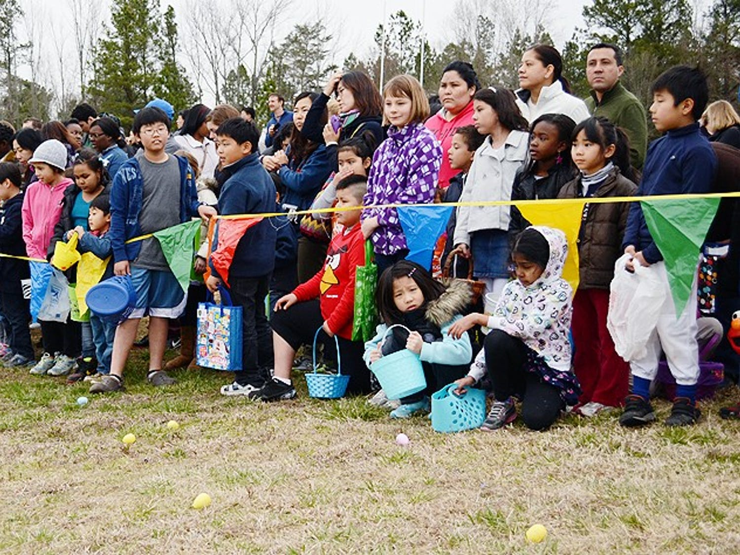 Children line up for the Orange County Easter Egg Hunt.