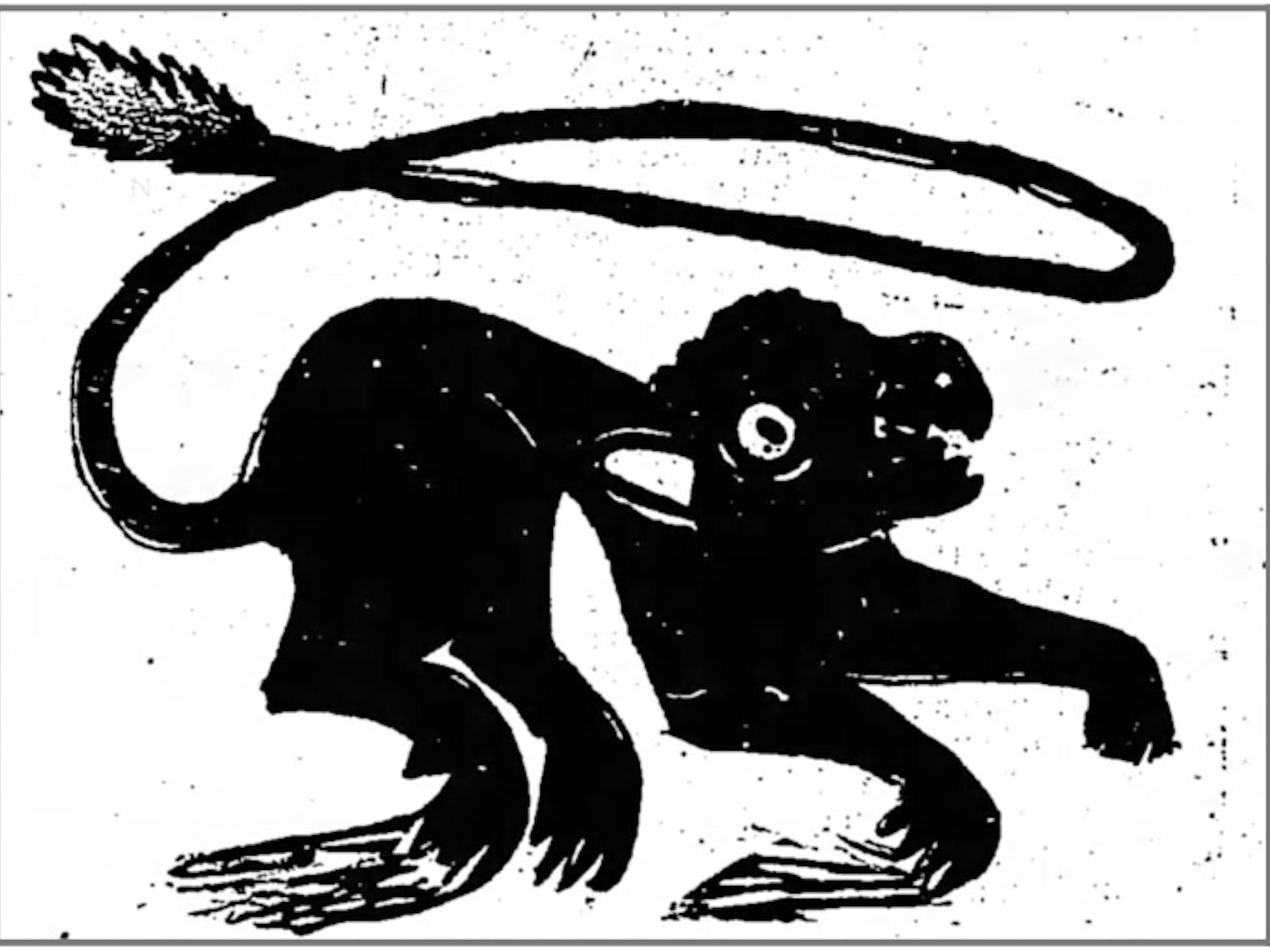 "A depiction of the terrifying ""Iredell Santer"" from the September 4, 1890 issue of the Statesville Landmark. Photo courtesy of the Statesville Landmark."
