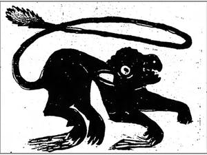 """A depiction of the terrifying """"Iredell Santer"""" from the September 4, 1890 issue of the Statesville Landmark. Photo courtesy of the Statesville Landmark."""