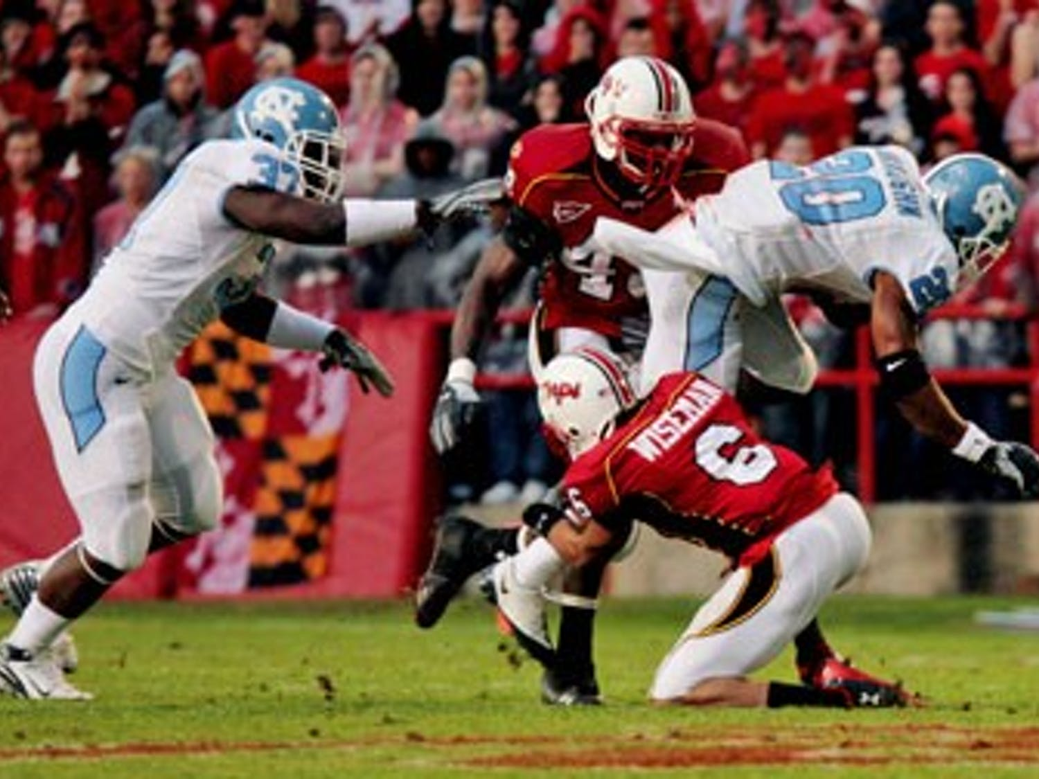 North Carolina rusher Shaun Draughn finished with only 46 yards on 13 carries and UNC couldn?t hold on to its lead Saturday falling 15-17. Maryland rallied back on a 73-yard drive in the fourth quarter. ?Last drives we haven?t been great on this year? linebacker Mark Paschal said.
