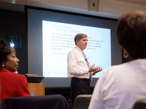 Mark W Merritt, former UNC vice chancellor and general counsel, discusses how the First Amendment protects hateful language during a panel discussion in 2017.