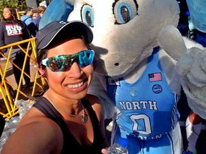 Cary resident Anjatha Ramachandran has run the Tar Heel 10 Miler multiple times and served as a race ambassador. She will run the race again this Saturday. The race proceeds benefit the UNC Lineberger Comprehensive Cancer Center and Chapel Hill-Carrboro YMCA's We Build People Campaign.  Contributed Anjatha Ramachandran.