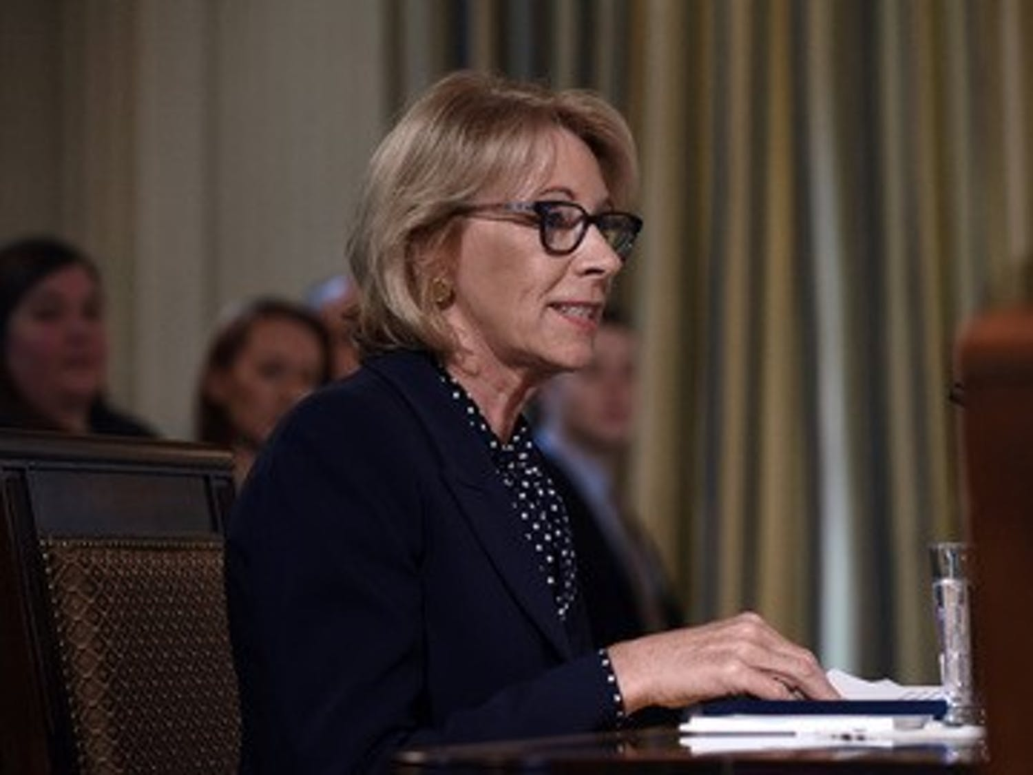 Education Secretary Betsy DeVos speaks during an Interagency meeting to discuss youth programs throughout each of the member agencies in the State Dining room of the White House in Washington, D.C., U.S., on Monday, March 18, 2019.(Olivier Douliery/ Abaca Press/TNS)