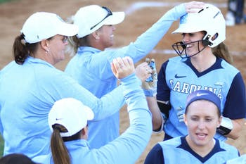 The North Carolina softball team shut out Georgetown 8-0 on Sunday in Chapel Hill.