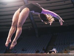 Elizabeth Durkac, Senior from Yorktown, Va. UNC Gymnastics v. George Washington and William & Mary