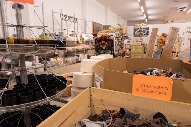 Scraps of leather, yarn, and other oddities fill the warehouse that is The Scrap Exchange in Durham.