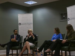 John King Jr., former secretary of education under the Obama administration, and Margaret Spellings, UNC system president and former secretary of education under the Bush administration, respond to questions from UNC students (right) regarding the current state of education in the U.S.