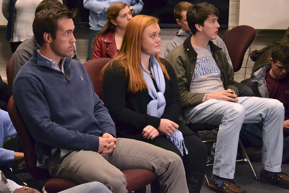 Houston Summers and Kathryn Walker await the results Wednesday evening for the Student Body President election.