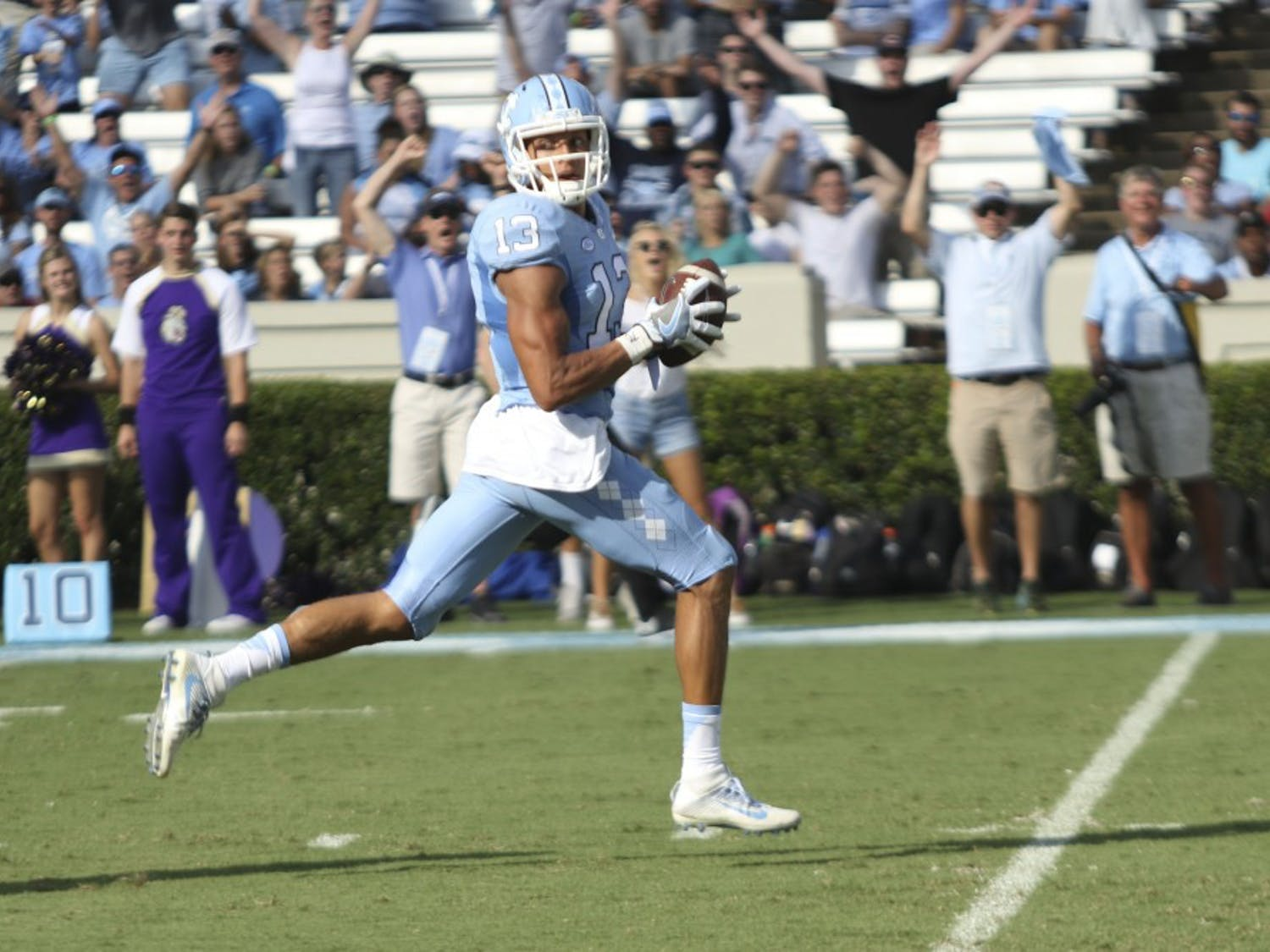 UNC receiver Mack Hollins runs into the end zone for a touchdown against James Madison on Saturday.