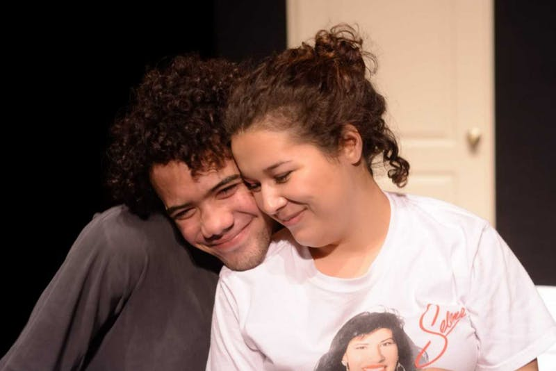"""Marcella Pansini and Jared Bowen play Lissa and Brody in UNC junior Gage Tarlton's play, """"Just Like Now."""" Photo by Olivia Herrera."""