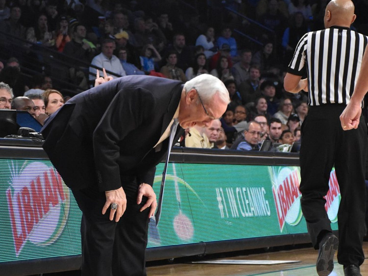 UNC head coach Roy Williams becomes upset during Saturday's game against Georgia Tech.