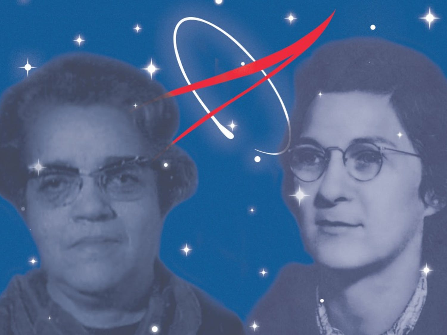 """Virginia Tucker and Dorothy Vaughan served as human """"computers,"""" completing calculations for NASA. Both women once lived in North Carolina. (Original photos courtesy of Morehead Planetarium and Science Center)"""