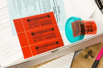 Police seals to protect evidence are shown in a rape kit during Sexual Assault Nurse Examiner training on Friday, February 16, 2018 at West Suburban hospital in Oak Park, Ill. Photo Courtesy of Kristan Lieb/Chicago Tribune/TNS.