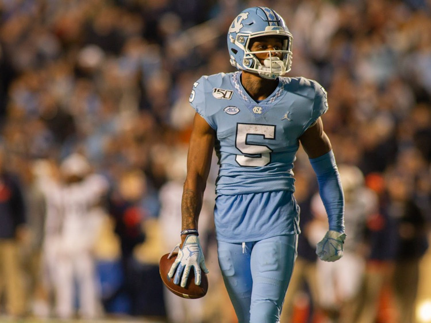Wide Reciever Dazz Newsome (5) awaits the start of a new play during the game against Virginia on Saturday, Nov. 2, 2019. UNC lost to Virginia 38-31.