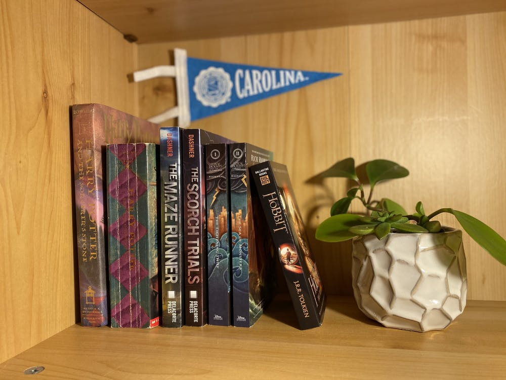 <p>With many UNC students being sent home due to COVID, some have been revisiting their favorite childhood books, including The Maze Runner, the Percy Jackson series, and the Harry Potter series.</p>