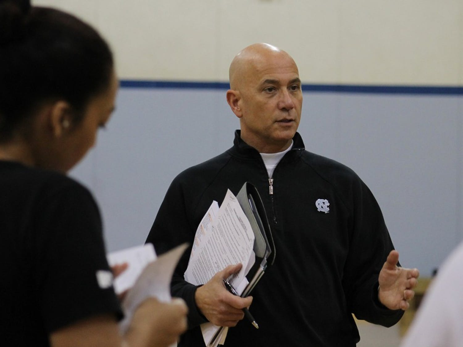 University of North Carolina varsity volleyball coach, Joe Sagula teaches a coaching class for EXSS students on Wednesday morning.