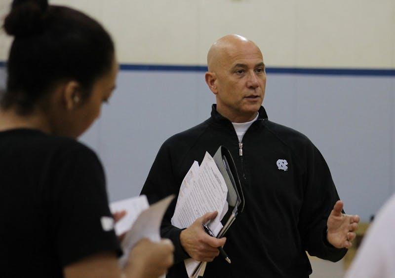 University of North Carolina varsity volleyball coach, Joe Sagula teaches a coaching class for EXSS students on Wednesday morning.