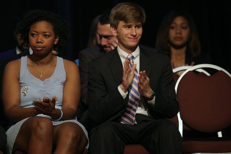 Andrew Powell was inaugurated as Student Body President on Tuesday. Student officers for 2014 were inaugurated in the Great Hall on Tuesday.