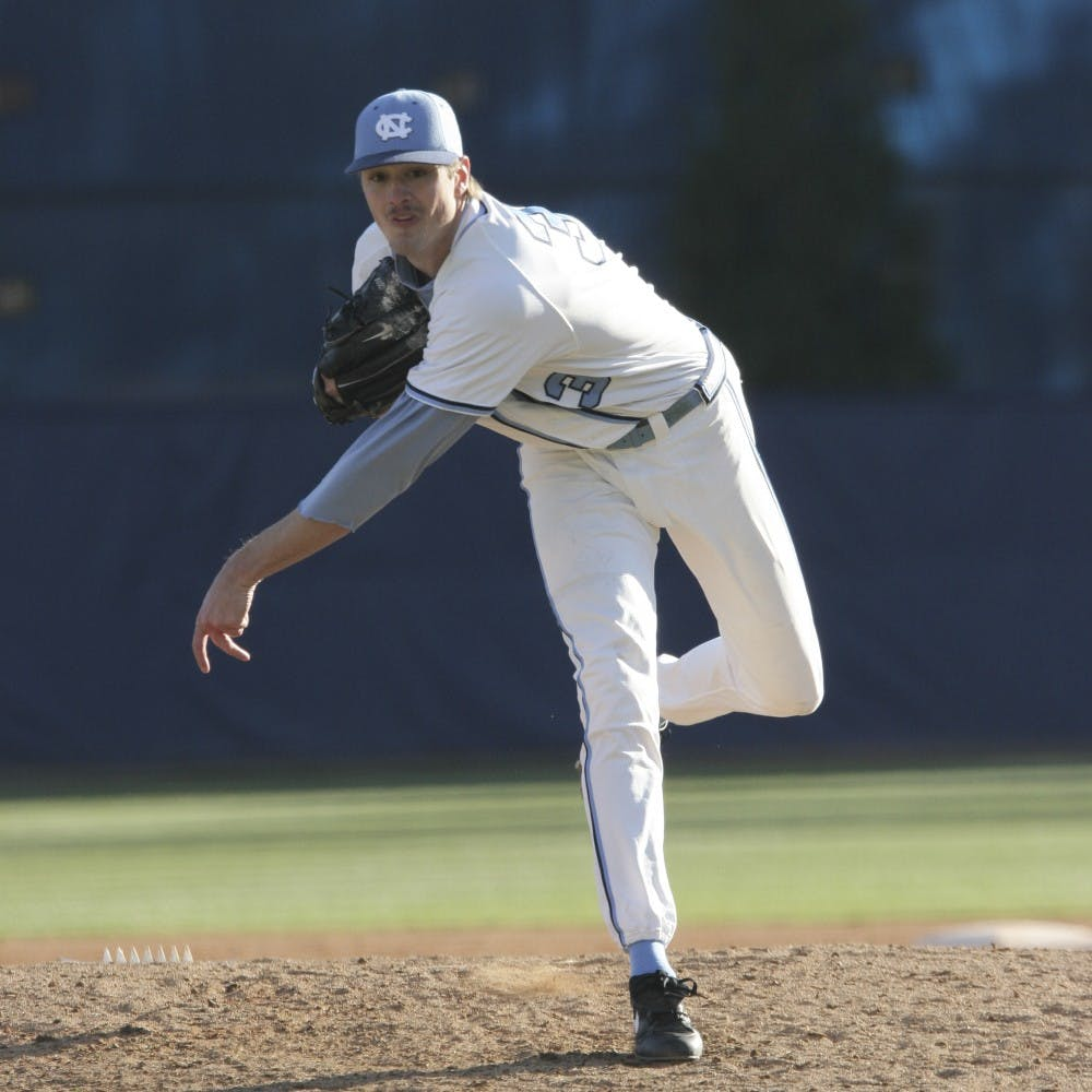 <p>Andrew Miller pitches against Seton Hall on February 19, 2006. Miller played for the UNC baseball team from 2004 to 2006.</p>