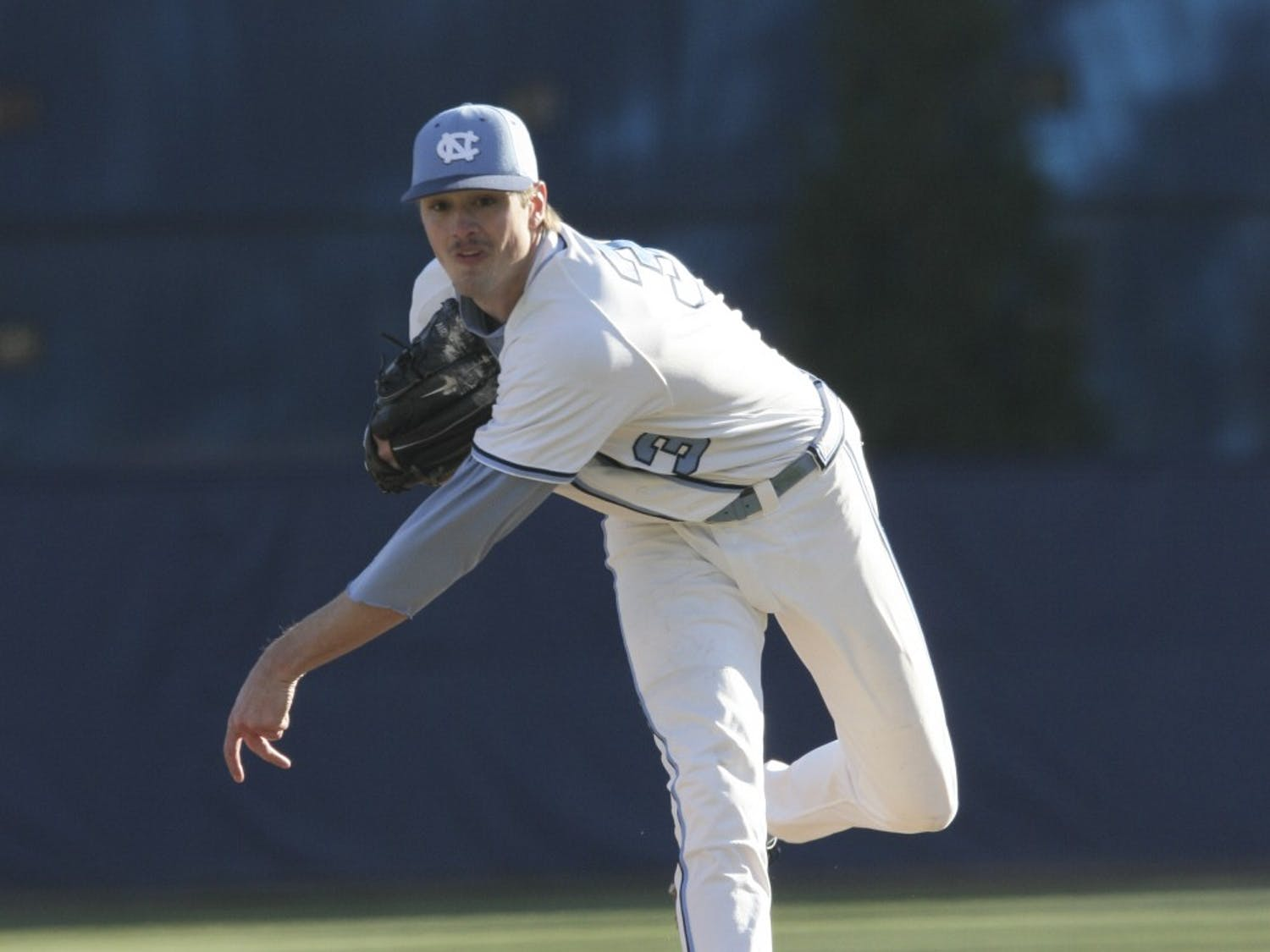 Andrew Miller pitches against Seton Hall on February 19, 2006. Miller played for the UNC baseball team from 2004 to 2006.