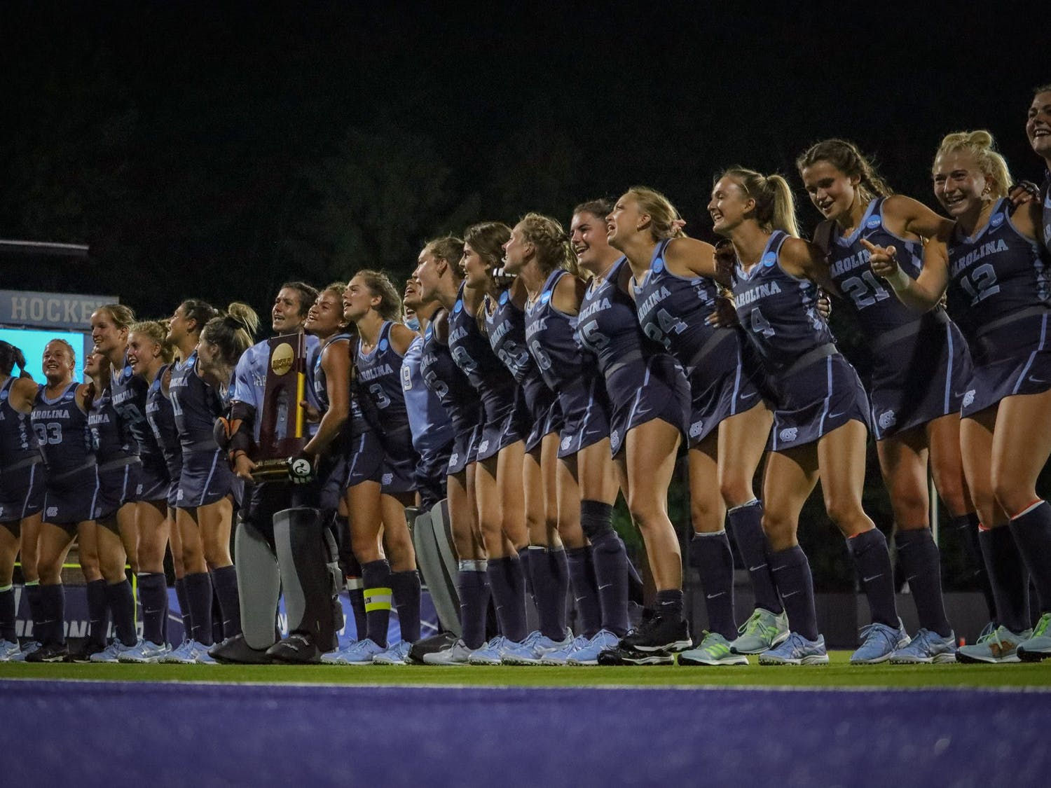 UNC field hockey celebrates their third consecutive national championship on Sunday, May 9 in Chapel Hill. The Tar Heels triumphed over the Michigan Wolverines 4-3.