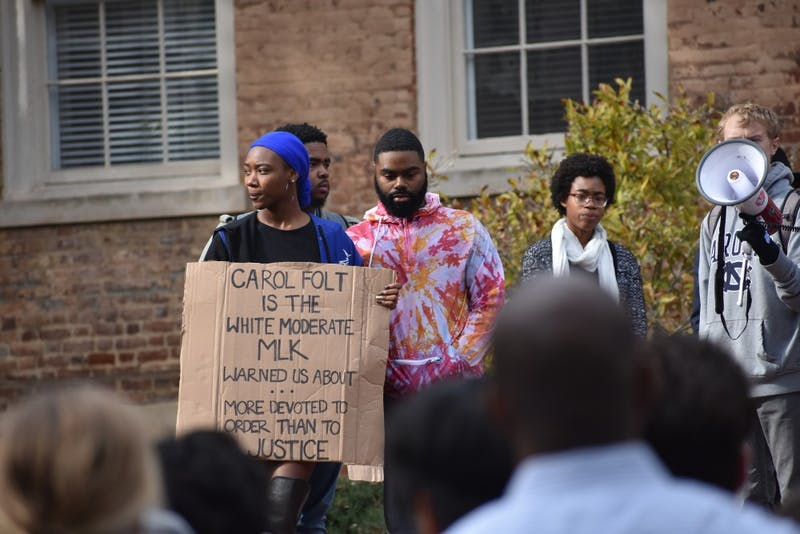 Angum Check, a columnist for the DTH, participated in the Silence Sam Rally at South Building on Nov. 14.