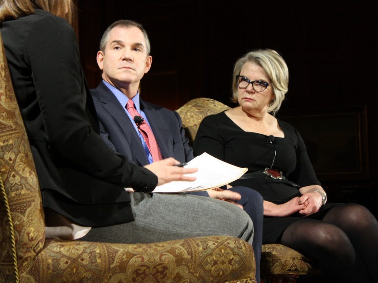 """Frank Bruni and Margaret Spellings responded to questions during """"The Art of Disagreement,"""" hosted by the Institute of Politics in Graham Memorial Lounge on Tuesday night."""
