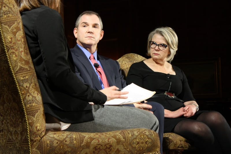"Frank Bruni and Margaret Spellings responded to questions during ""The Art of Disagreement,"" hosted by the Institute of Politics in Graham Memorial Lounge on Tuesday night."
