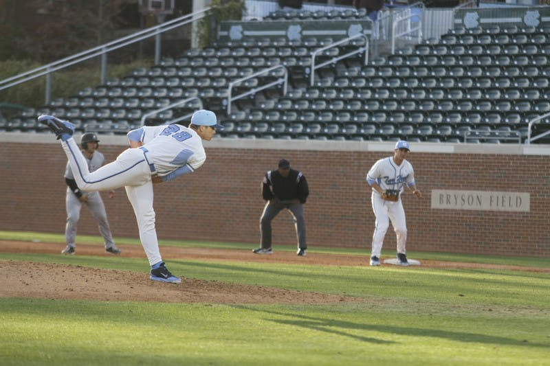 UNC pitcher Reilly Hovis delivers a pitch early in the game Tuesday.