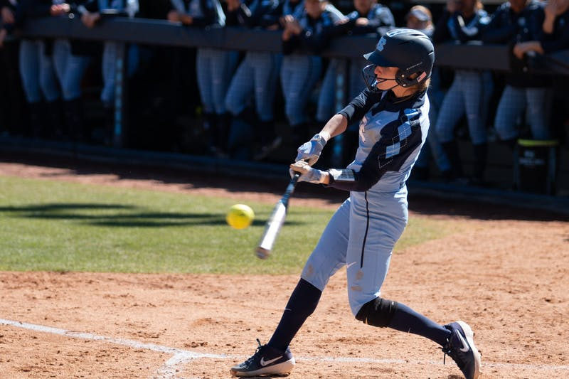 Senior infielder Campbell Hutcherson (5) hits  a home run during the game against Pittsburgh on March 1, 2020. UNC won 1-9.