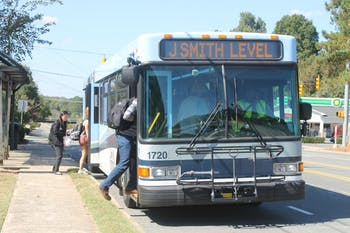 Passengers board the J bus on Jones Ferry Road in Carrboro, North Carolina. Carrboro kicked off Public Transportation Week on Monday, Sept. 23. 2019.