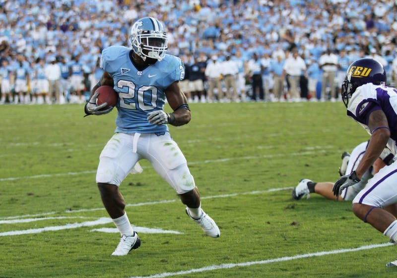 Tailback Sean Draughn ran for three touchdowns in UNC's 42-17 victory over East Carolina on Saturday.