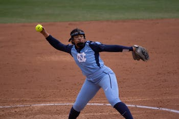 UNC softball sophomore Hannah George (42) gets ready to pitch the ball during the last game of the ACC Big 10 Challenge versus Wisconsin on Sunday, Feb. 16, 2020. UNC lost 8-3.