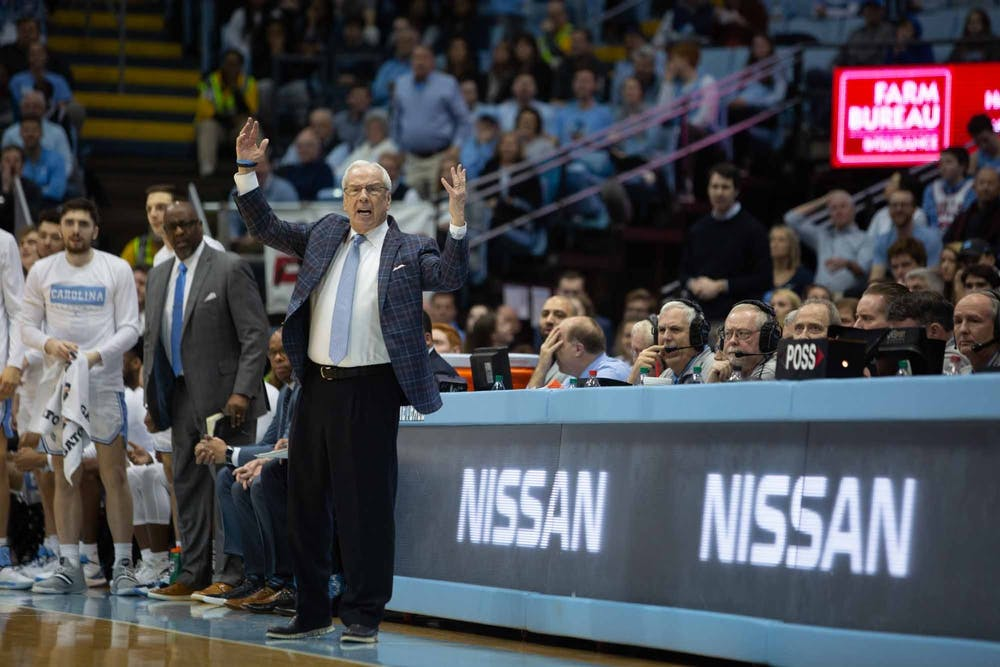 UNC men's basketball head coach Roy Williams yells during the game against UVA in the Smith Center on Saturday, Feb. 15, 2020. UNC fell 64-62 against UVA.