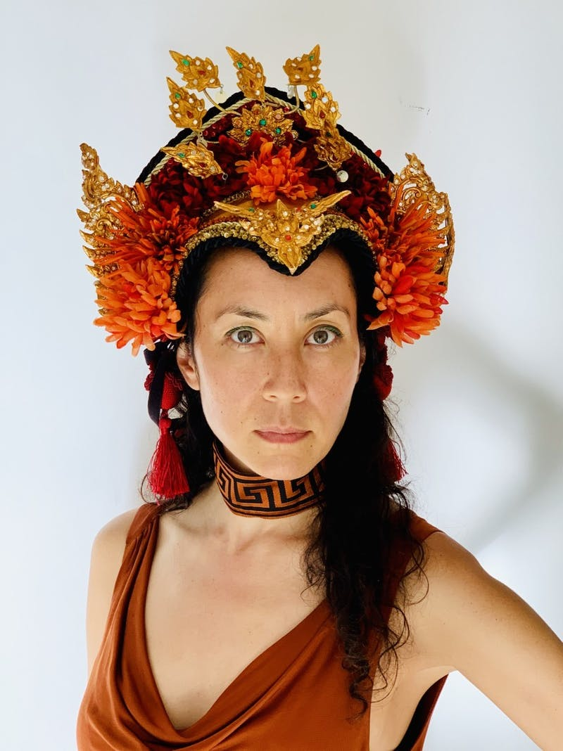 "Artist Marisa Morán Jahn dressed as Aphrodite, the Greek goddess of love and copper will be featured in the ""The Future is Female"" exhibition at 21c Museum Hotel Durham. Photo courtesy of Marisa Morán Jahn."