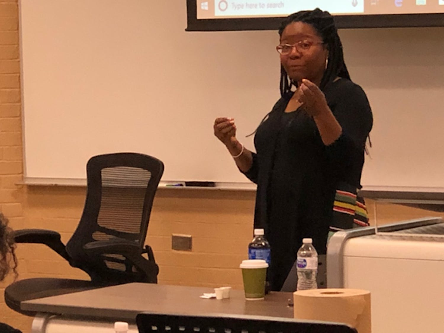 Trina Jones, professor of law at Duke University School of Law, gives a lecture on the intersectionality of race, class and gender as part of the Critical Race Theory Symposium.