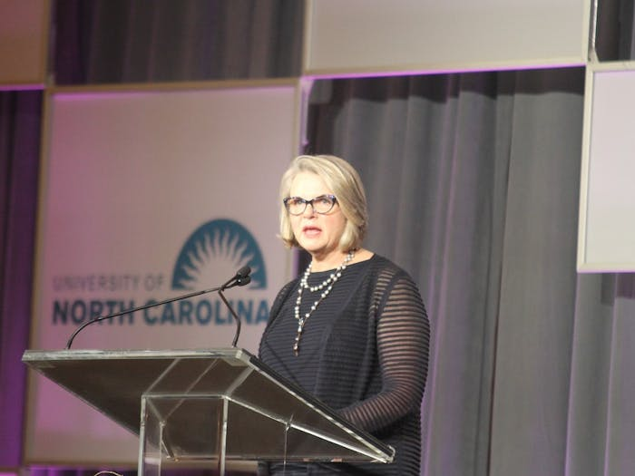UNC President Margaret Spellings speaks about her review at the Spellings Commission on Sept. 26, 2017.