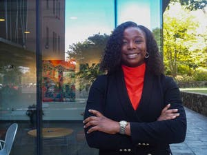 Associate Director of The African Studies Center, Ada Umenwaliri, poses for a portrait in front of the FedEx Center on Sept. 28. The ASC was recently awarded a $500,000 grant from the Oak Foundation to fund their digital platform about contemporary Africa.