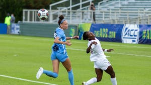 FSU freshman forward Jody Brown (10) heads the ball in Sahlen's Stadium in Cary, NC on Sunday, Nov. 15, 2020. The Seminoles beat the Tar Heels 3-2 to win the ACC Women's Soccer championship.