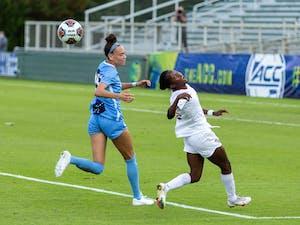 FSU freshman forward Jody Brown (10) heads the ball in Sahlen's Stadium in Cary, NC on Sunday, Nov. 15, 2020. The Seminoles beat the Tar Heels 3-2 to win the ACC Women's Soccer championship.