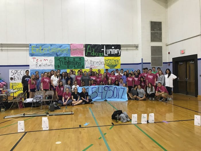Attendees of Relay for Life 2018 of UNC event gather in front of a sign displaying the amount raised. Photo by Madison Buchanan.