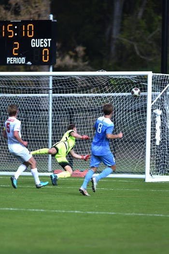 Junior midfielder Jack Skahan (8) scores in the second half against Virginia Tech. UNC defeated Virginia Tech 3-0 at Finley Field on Sunday Nov. 4