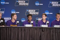 From left to right: sophomore Michael Buckland, sophomore Kenny Cooper, junior Rob Marberry and junior Garrison Mathews of Lipscomb speak with the media on March 15 in the Spectrum Center. Photo courtesy of Kristi Jones, Lipscomb Athletic Department.