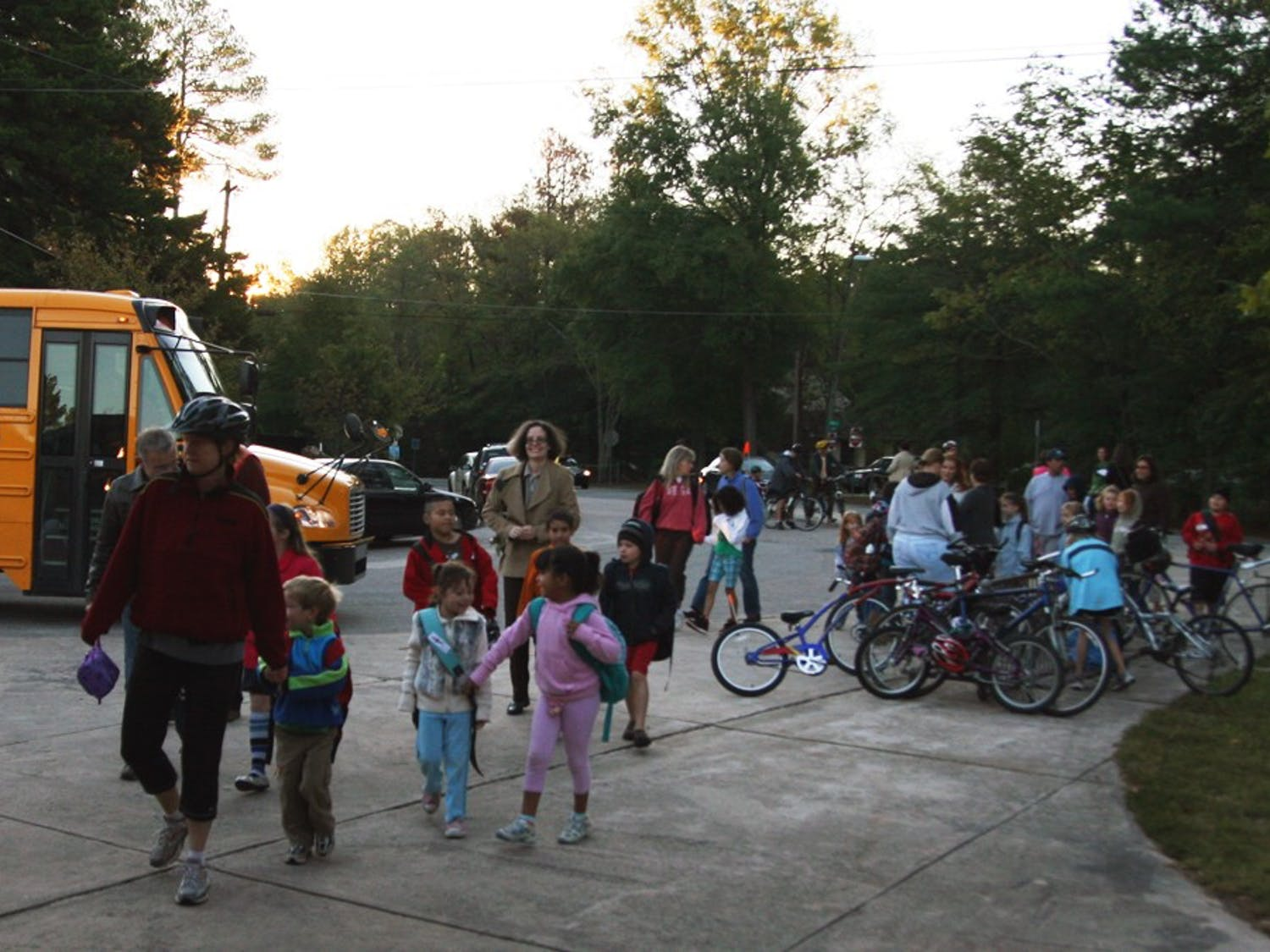 Children and parents of Carrboro Elementary School take part in International Walk to School Day on Wednesday morning. This is the sixth year Chapel Hill-Carrboro City Schools has participated in the event.