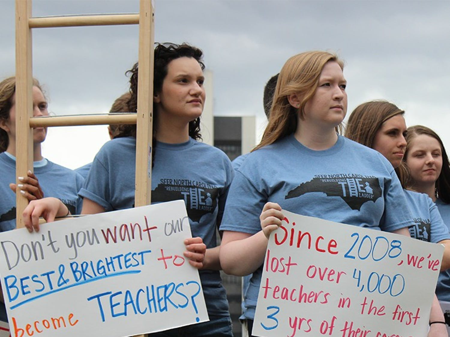 Students for Education Reform gathered outside of the General Assembly Building in Raleigh in 2014, calling for a raise in wages for teachers and a new respect for the job. SFER consists of college students from all over the state, including Duke, East Carolina, UNC-CH, and Wake Forest.