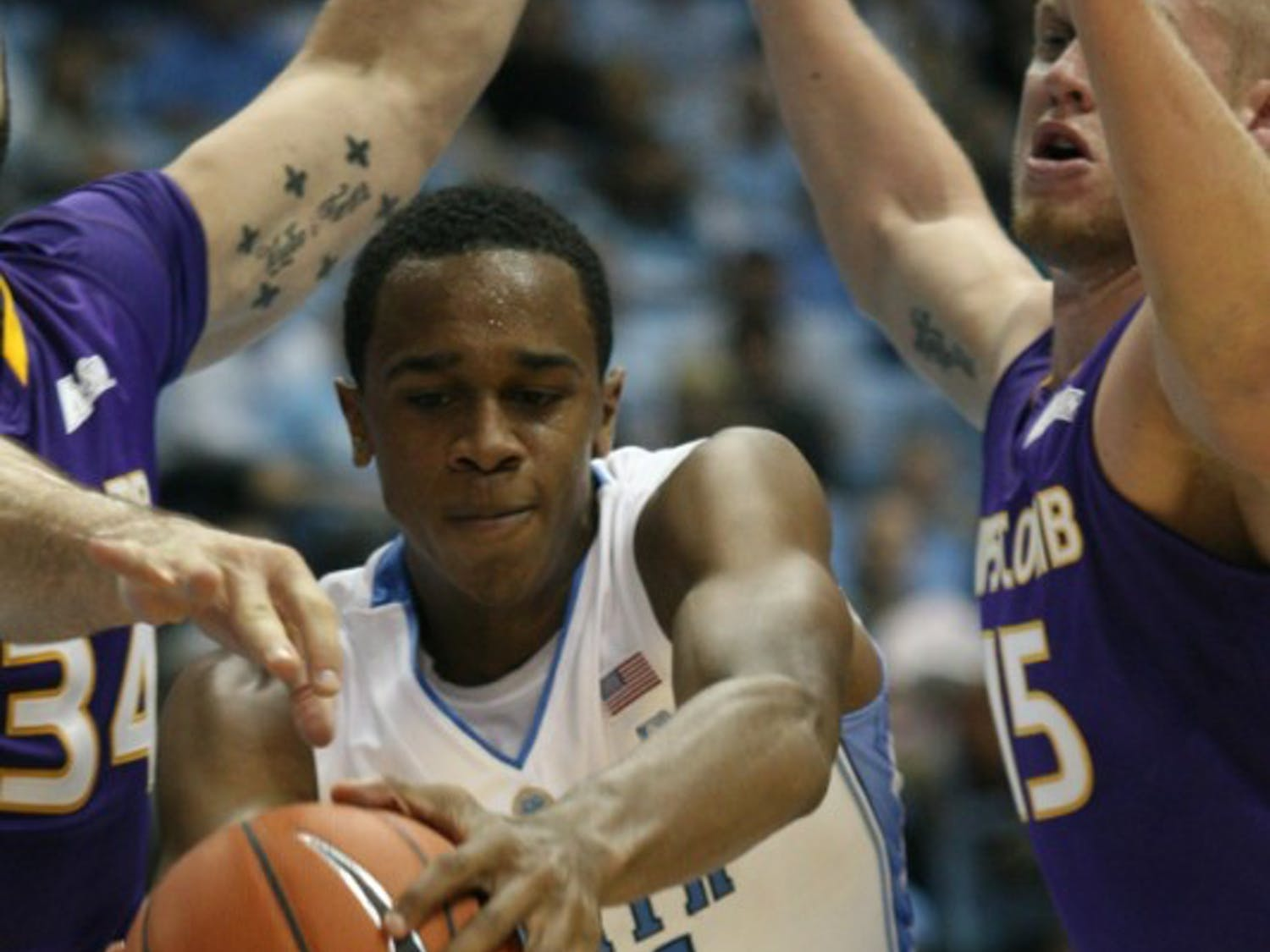 John Henson, seen here in UNC's game against Lipscomb on Nov. 12, carried the load inside with Zeller's foul trouble, scoring 16 points.