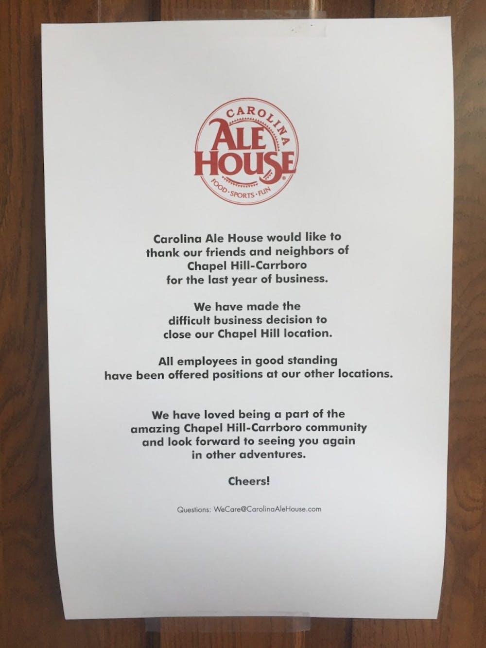 Carolina Ale House Shuts Down in Chapel Hill